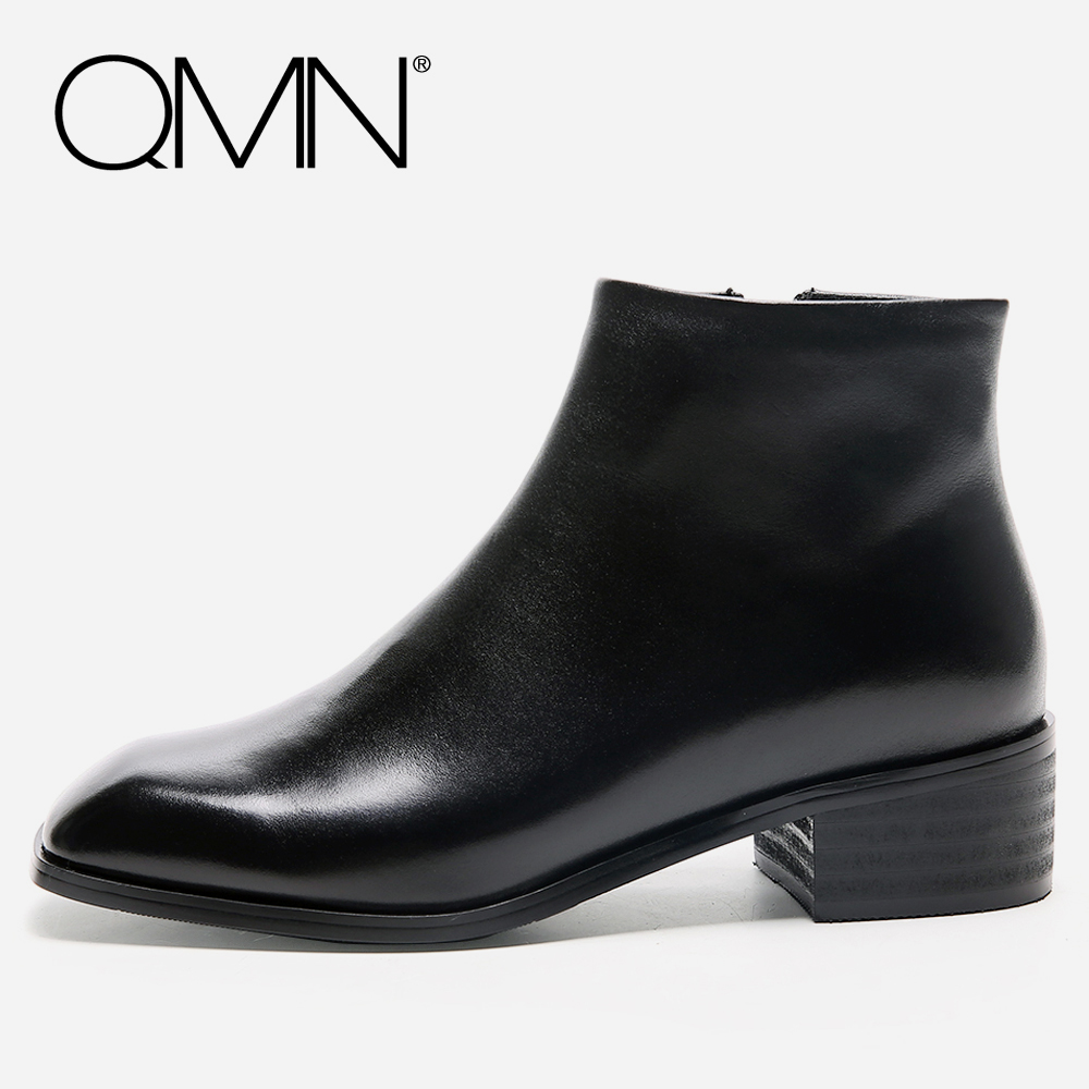 QMN women genuine leather ankle boots for Women Square Toe Basic Boots Shoes Woman Fashion Boots Botas Femininas Size 34-39 qmn women crystal trimmed brushed embossed leather brogue shoes women square toe oxfords shoes woman genuine leather flats 34 43