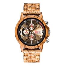 QW Hot Selling Bamboo Brand Chronograph Wholesale Custom Men Wood Sport Watch