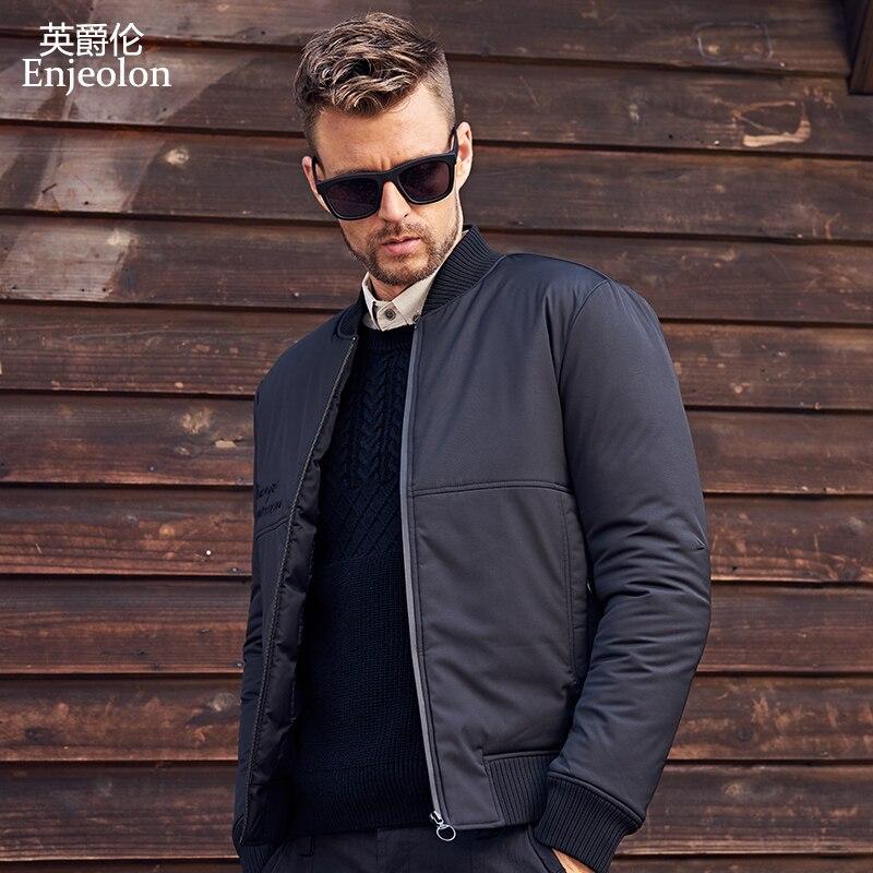 Enjeolon ブランド冬の綿パッド入りカジュアルコートの男性のパーカー黒印刷厚いキルティングファッション 3XL コート男性 MF0287  グループ上の メンズ服 からの パーカー の中 2