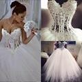 2016 Vestidos De Noiva Blanco Sin Tirantes Romántico Vestidos de Novia Bata de Pelota Perlas Vestidos de Novia de Encaje Para Arriba Detrás de Tul de China