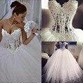 2016 Vestidos De Noiva Branco Sem Alças Vestidos de Casamento Romântico vestido de Baile Pérolas Vestidos de Noiva Lace Up Voltar Tulle a partir de China