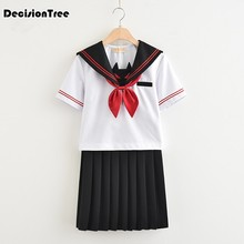Traje de marinero 2020 uniforme escolar para adolescentes estilo preppy uniforme cos jk japanese seifuku bow skirt shirt(China)