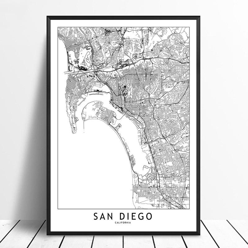 Home Decor San Diego: San Diego Black White Custom World City Map Posters Prints