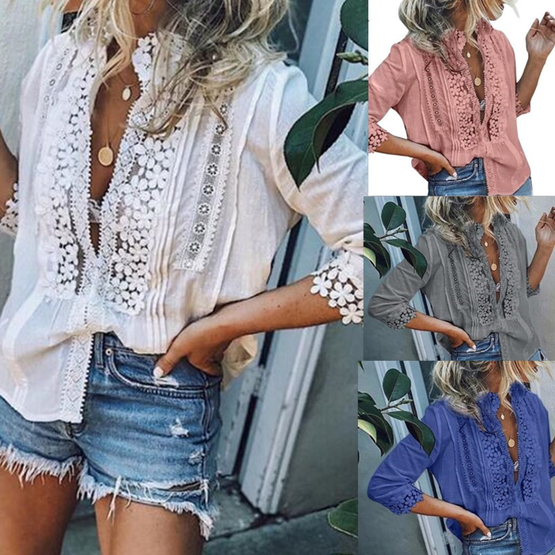 Fashion Summer White Lace Cotton   Blouse     shirt   Elegant Women Tops Plus Size Sexy Hollow Out   Shirts
