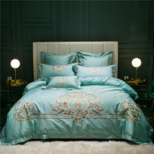 New Green Red Champagne Luxury Gold Royal Embroidery 100S Egyptian Cotton Bedding Set Duvet Cover Bed sheet/Linen Pillowcases