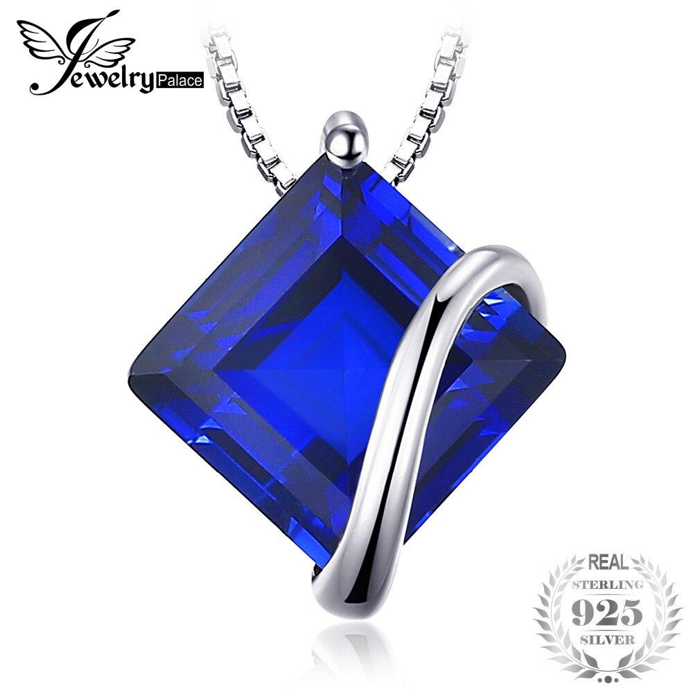 SmyckenPalace Classic 3,3 cm kvadrat skapad safirhänge 925 Sterling Silver Charms Engagement Bröllopsmycken utan kedja