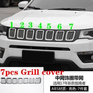 Couverture de décoration de gril de voiture de chrome d'abs de haute qualité 7 pièces, cadre de protection pour la boussole 2017-2019 de Jeep