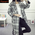 King Bright Brand High Quality 2016 Winter Long Cashmere Coat Women Thicken Warm Trench Coat Plus Size Turn Down Collar Overcoat