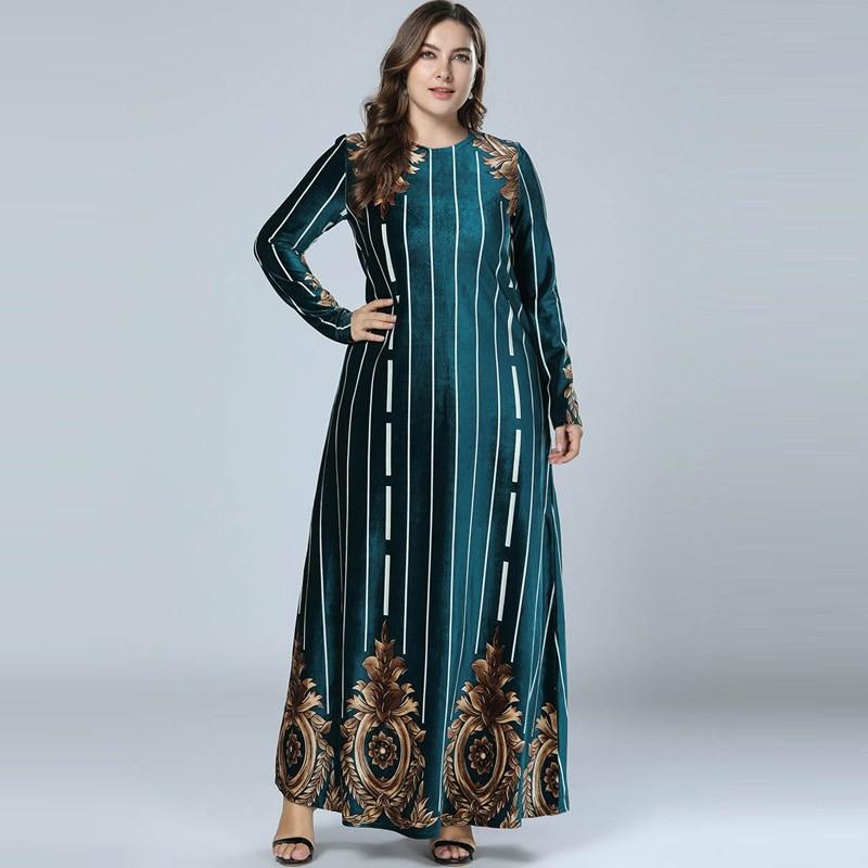 New 2018 Winter Abaya Muslim Dress Arabic Abayas Long Sleeve Velvet  Pakistani Dubai Islamic Print Warm 49c97ea89ab4
