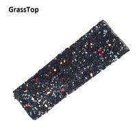 GrassTop Black Rhinestones Applicator Decoration Adhesive Sticker For Clothing Crafts Mesh Stone Sheet Rhinestone Trim Applique