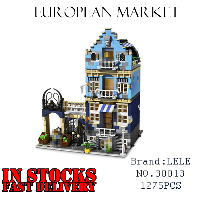 LELE Creator 30013 1275PCS Market Street Building Blocks Bricks enlighten DIY toys for children Birthday gifts brinquedos 10190 decool 3117 city creator 3 in 1 vacation getaways model building blocks enlighten diy figure toys for children compatible legoe