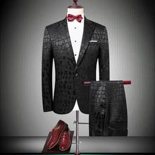 Brand Suit Men 2019 Singer Party Slim Fit Wedding Suits Crocodile Pattern Mens Prom Fashion Latest Coat Pant Designs 90060