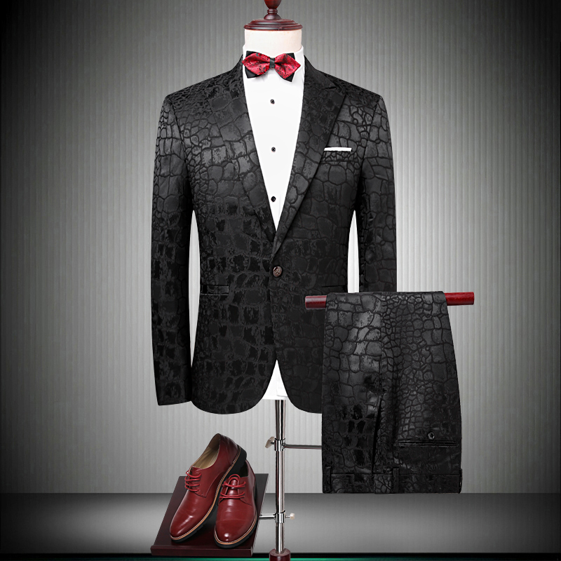 Brand Suit Men 2018 Singer Party Slim Fit Wedding Suits Crocodile Pattern Mens Prom Suit ...