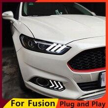 KOWELL için araba Styling Mondeo farlar 2013 2014 2015 Fusion LED far orijinal DRL Bi Xenon mercek yüksek düşük işın park