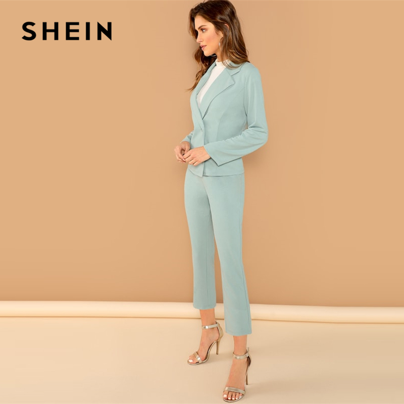 SHEIN Turquoise Pocket Front Double Breasted Notch Long Sleeve Coat Pants Set Women Autumn Elegant Workwear Twopiece 2