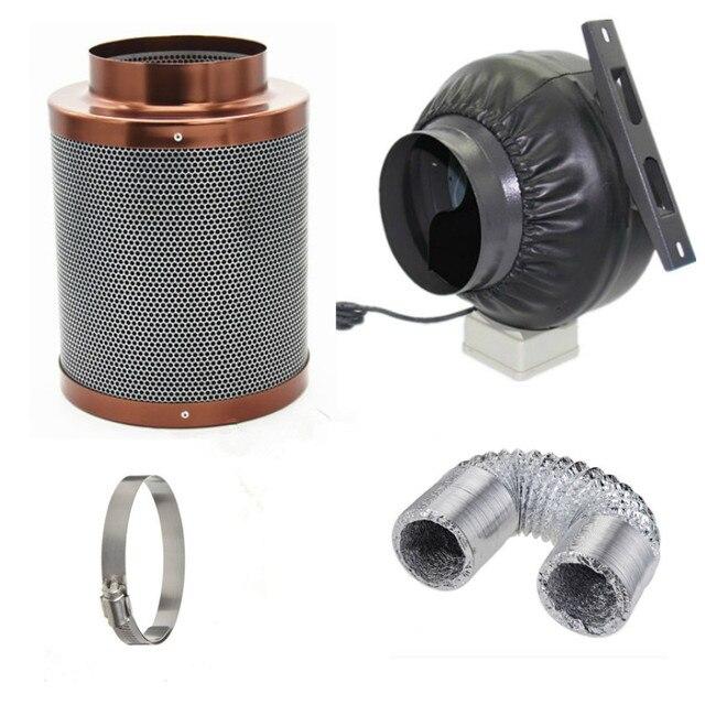 4 Inch Inline Exhaust Fan Blower Centrifugal Fan Carbon Air Filter