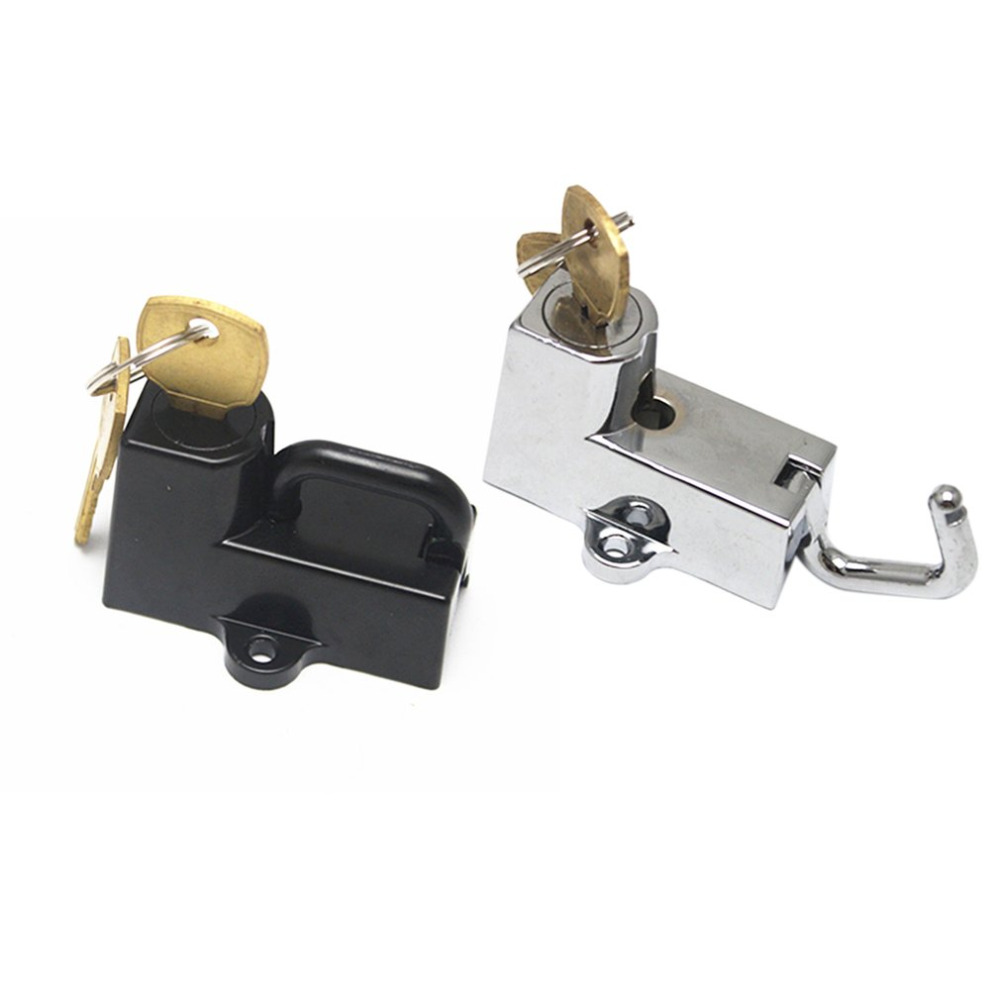 Universal Motorcycle Helmet Lock With 2 Keys Metal Black/Silver 22mm 7/8
