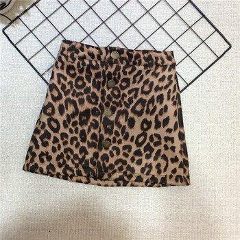נמר חצאית בנות סתיו 2019 אופנה מותג עיצוב בנות עור קצר חצאית עבור תינוק בנות ילדים חצאיות 2-7Y פעוט Pettiskirt