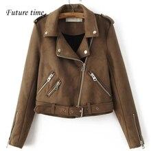 Новые женские пальто кожа тонкая куртка с карман куртки весна Высокое качество молнии модная куртка женские пальто Верхняя одежда YF234