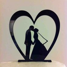 Wedding Cake Topper ,Heart Leaning Bride Groom Kissing Acrylic Wedding Cake Topper Silhouette ,Wedding Topper Decor Supplies