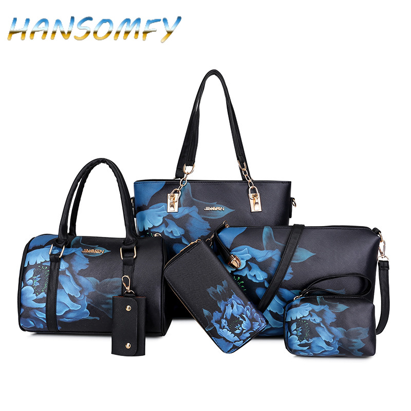 HANSOMFY New Women PU Leather Handbags Women Printed Bags Designer 6 Pieces Set Shoulder Crossbody Bags For Women Big Tote X1-38