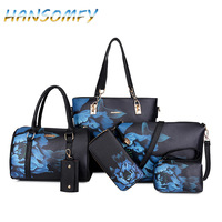 HANSOMFY New Women PU Leather Handbags Women Printed Bags Designer 6 Pieces Set Shoulder Crossbody Bags For Women Big Tote X1 38