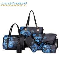 HANSOMFY New Women PU Leather Handbags Women Printed Bags Designer 6 Pieces Set Shoulder Crossbody Bags For Women Big Tote X1 38