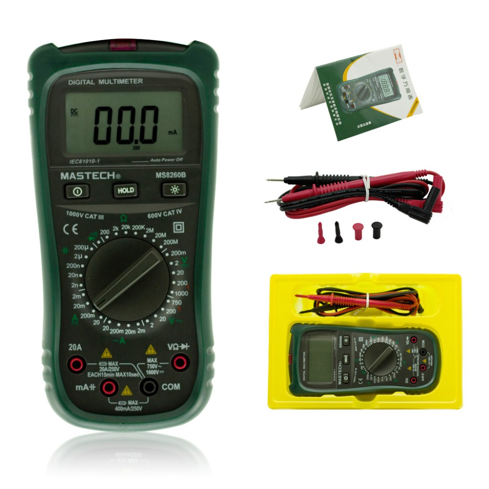 ФОТО MASTECH MS8260B Digital Multimeter AC/DC Voltage Current Resistance Capacitance Diode Continuity Non Contact AC Voltage Detect