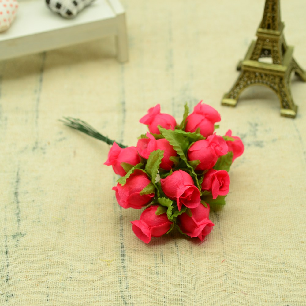 12pcs Silk Roses Artificial Flowers Bouquet for Home And Wedding Decoration Accessories 17