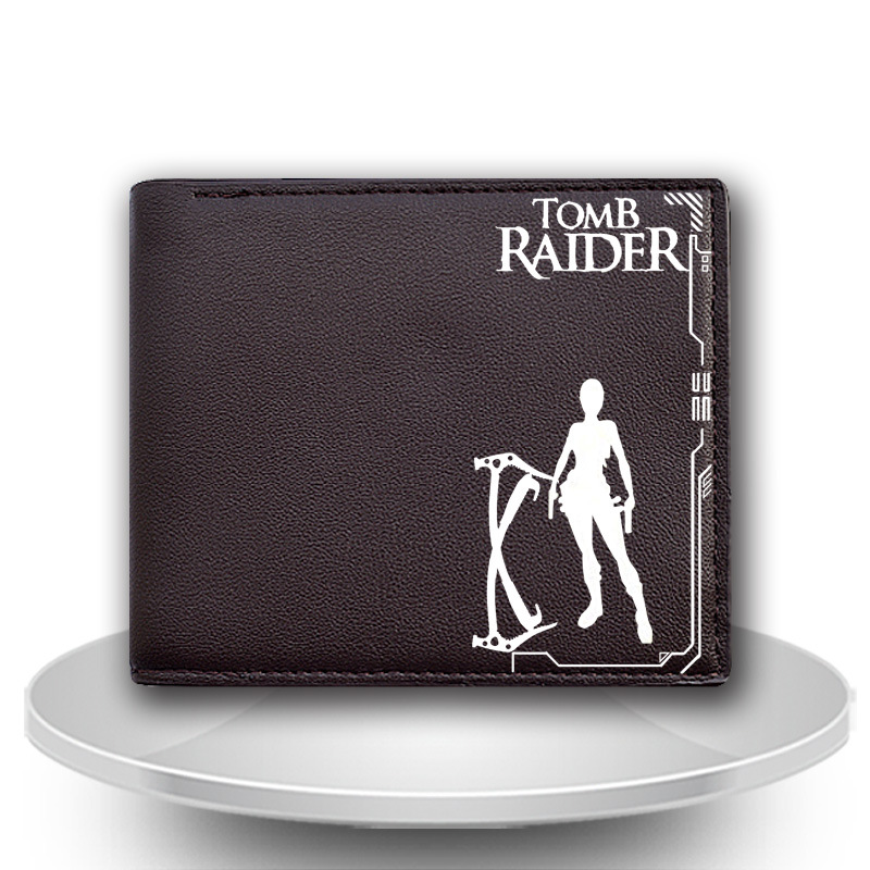PU Leather Short Billfold Tomb Raider Lara Croft pattern New Fashion Anime Cartoon Purse wallet with Cards/Photo Holder moneybag
