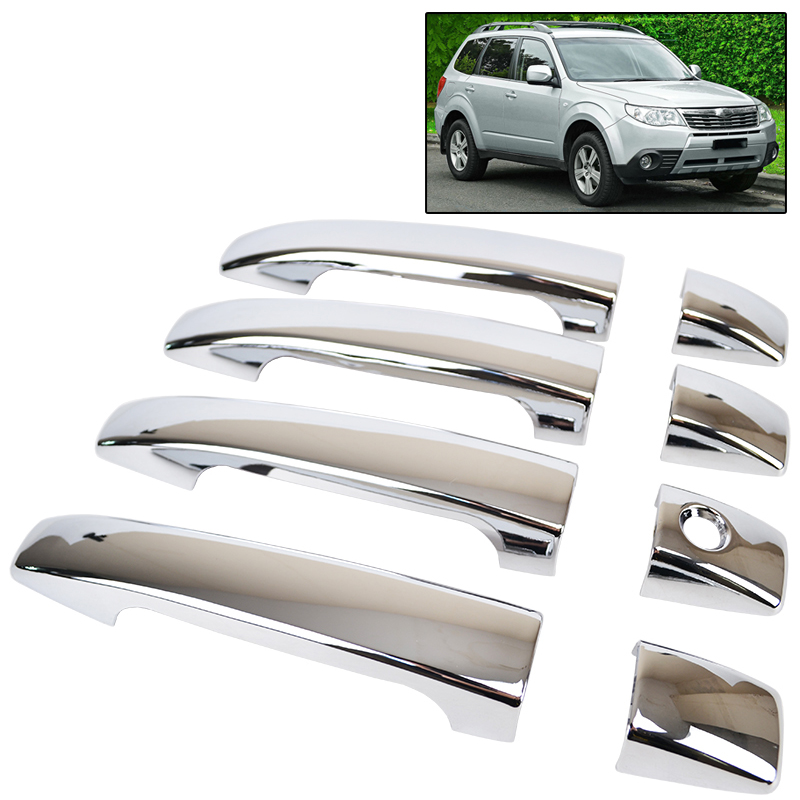 2010-2016 For Mitsubishi RVR//ASX Side Door Outer Handles with Smartkey Hole Cover Trim Decor Chrome ABS 8pcs