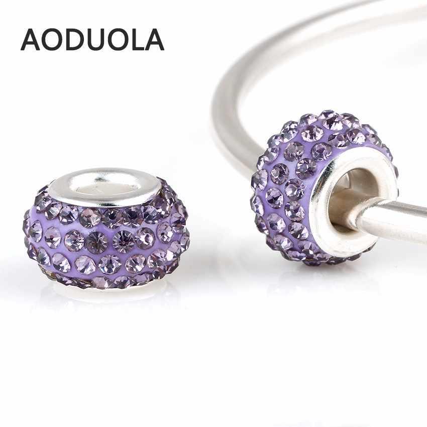 Diamantes de imitación de dijes con cuentas de cristal espaciador redondo DIY gran agujero del encanto del grano para la fabricación de la joyería Fit para Pandora pulsera encantos pulsera