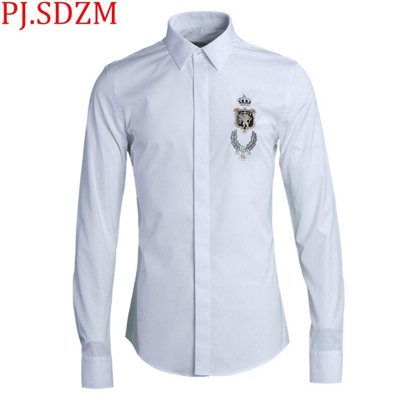 2018 جديد أوروبا وأمريكا عالية الجودة المكرر التطريز تاج الأسد أزياء الرجال قمصان كم كاملة عارضة القوطية M 4XL-في قمصان كاجوال من ملابس الرجال على  مجموعة 1