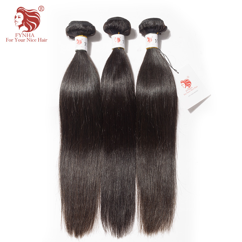 [FYNHA] Virgin Brazilian Straight Hair 3 Bundles Deal Natural Black Weaving Extension