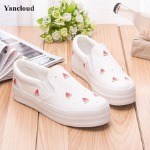 New Cute Fruits Print Womens Platform Shoes Summer 2017 Hand Painted Canvas Shoes Slip on Women