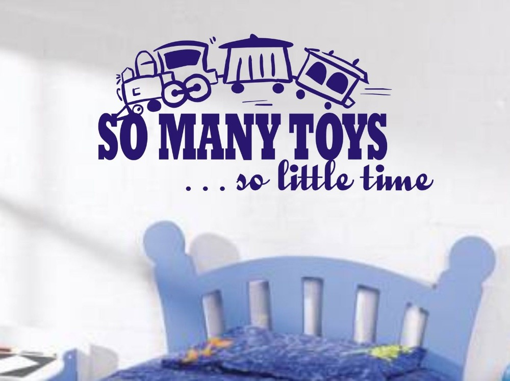 So many toys so little time train wall art sticker quote for Boys wall art