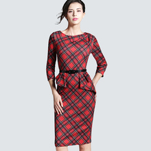 Spring Autumn Women Elegant Red Tartan Plaid Ruffle Ruched Office Work Business Casual Party Pencil Sheath