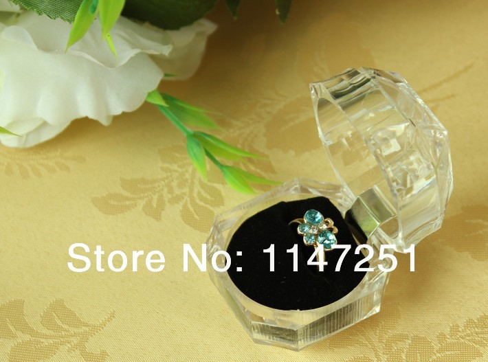 120Pcs/lot Acrylic Clear Ring Box Transparent Black Ear Studs Earrings Box Case Gift Box Jewelry Packaging Boxes Wholesale