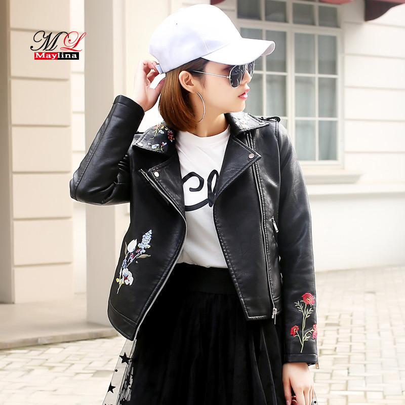 Mlinina 2018 New Women Jackets Fashion Flower Embroidery Pu Leather