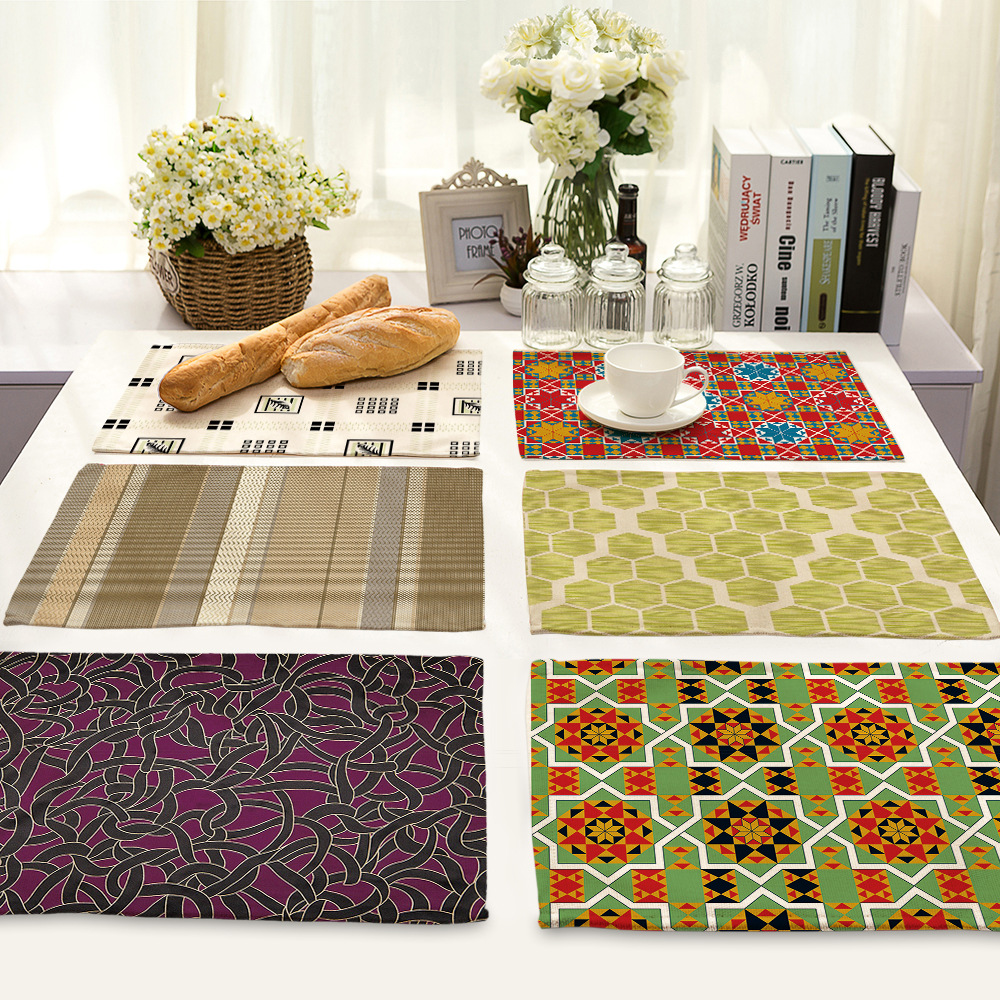 CAMMITEVER Heat Insulation Non-slip Table Mats Place Mats Woven Cotton Braided Ribbed Washable Table Mats Set of 2 (Mixed Color)