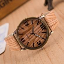 Reloj de Mujer Reloj de Grano de Madera de La Vendimia para Hombres Mujeres Relojes de Cuarzo de Moda de Cuero de Imitación Unisex Casual Reloj de pulsera de Regalo Caliente