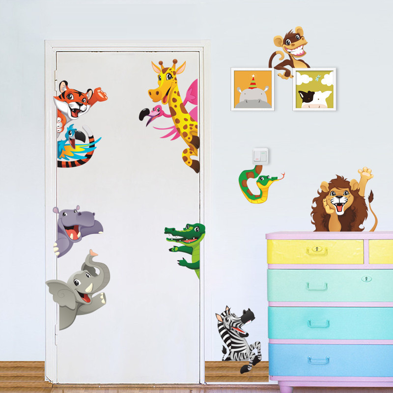 Forest Animals wall stickers For kids rooms door decorations diy home wall decals lion elephant mural cover art posters