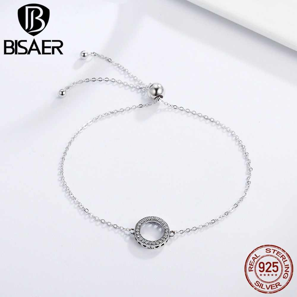 Authentic 925 Sterling Silver Forever Circle Round Women Femme Chain Link Bracelet for Women Sterling Silver Jewelry Pulseira