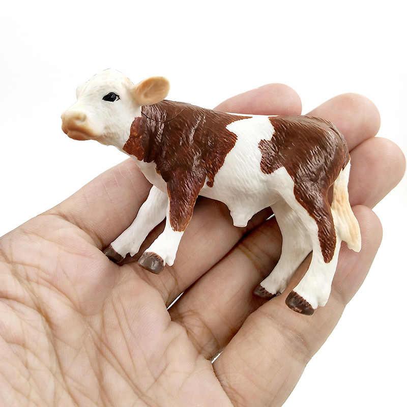 Farm poultry Kawaii Simulation mini milk Cow Cattle Bull Calf plastic animal model figurine toy figures home decor Gift For Kids