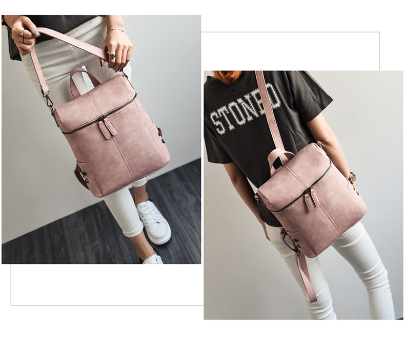 HTB1uXy a6DuK1Rjy1zjq6zraFXaD Simple Style Backpack Women Leather Backpacks For Teenage Girls School Bags Fashion Vintage Solid Black Shoulder Bag Youth XA568