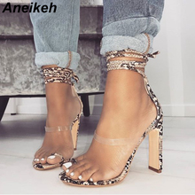 Aneikeh 2019 Summer New Shoes Woman Sandals High Heels Ankle Strappy Cross-Tied Sandals Fashion Lace-up Pumps High Shoe Size 40