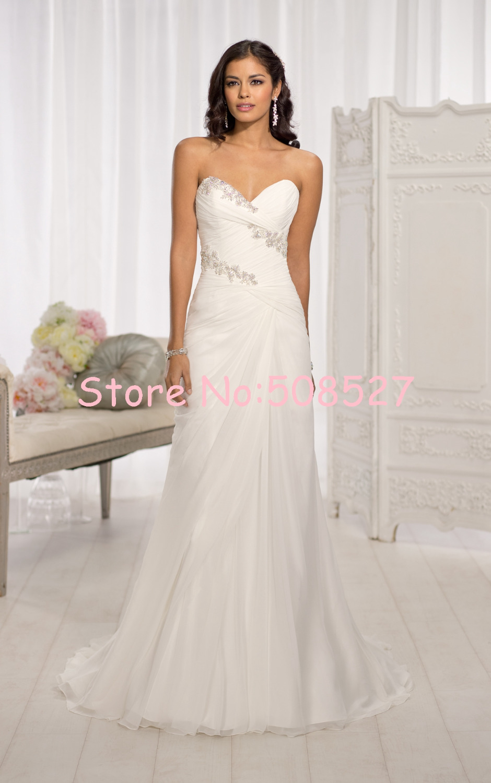 New stock wedding dresses white ivory pleat beading for Wedding dress in stock