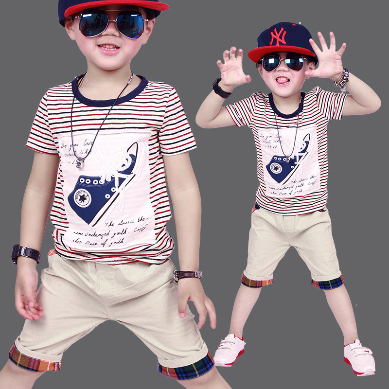 Cotton Baby Boys Clothing Sets Brand 2017 Summer Fashion Kids Clothes Casual Boys Sports Suit Tracksuit for 3~7 Years 2015 new 3 7 years korean children s clothing brand boys 1set 100% cotton summer boys clothing sets kids clothes