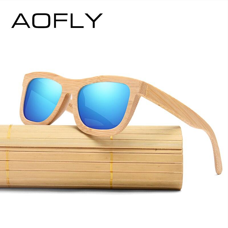 688a704861a68 AOFLY New Bamboo Óculos De Sol Dos Homens Polarizados Óculos de Sol para As  Mulheres Marca de Designer Artesanal de Bambu Moldura de Espelho Lente HD  AF601