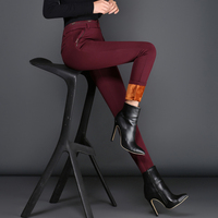 Thick Pants Plus Size Women Thicken Inside Elastic Fabric Full Length 4 Colors Skinny Trousers New